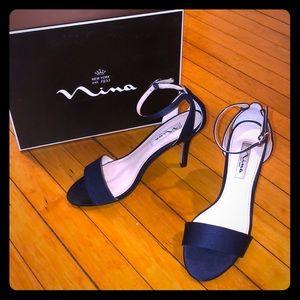 Silk Open Toe Navy Blue Heels